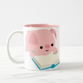 Cute Cartoon Reading Piglet Mug mug
