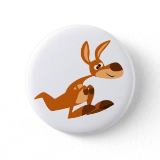 Cute Cartoon Silly Kangaroo Button Badge button