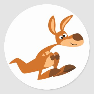 Cute Cartoon Silly Kangaroo Sticker sticker
