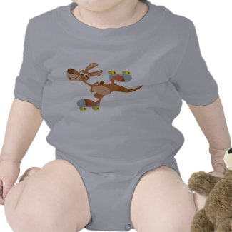 Cute Cartoon Skating Kangaroo Baby Apparel shirt