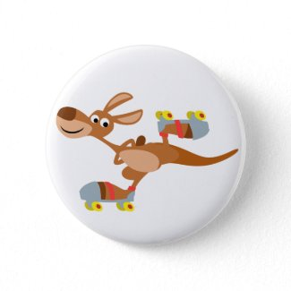 Cute Cartoon Skating Kangaroo Button Badge button
