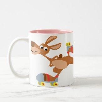 Cute Cartoon Skating Kangaroo Mug mug