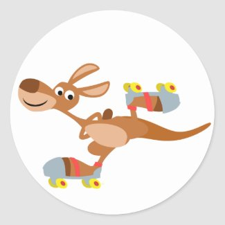 Cute Cartoon Skating Kangaroo Sticker sticker