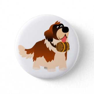 Cute Cartoon St Bernard Button Badge button