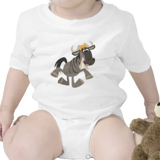 Cute Cartoon Tap Dancing Wildebeest Baby Onesie zazzle_shirt