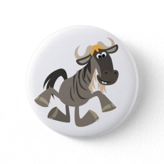 Cute Cartoon Tap Dancing Wildebeest Button Badge zazzle_button