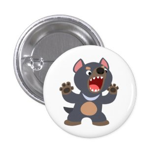 Cute Cartoon Tasmanian Devil Button Badge