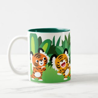 Cute Cartoon Tigers Dancing In The Jungle Mug mug