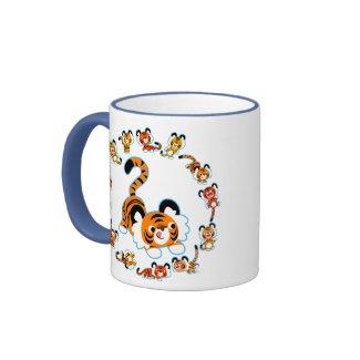 Cute Cartoon Tigers Mandala (Blue) Mug mug