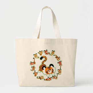 Cute Cartoon Tigers Mandala (green) Jumbo Bag bag