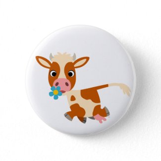 Cute Cartoon Trotting Cow Button Badge button