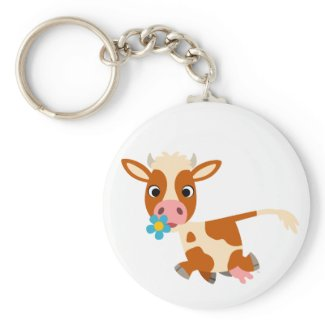 Cute Cartoon Trotting Cow Keychain keychain