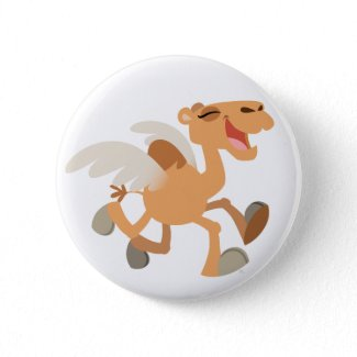 Cute Cartoon Winged-Camel Button Badge button