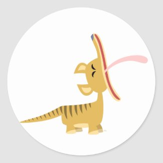 Cute Cartoon Yawning Thylacine Sticker sticker