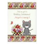 Cute Cat, Flowers and Butterflies Birthday Invite