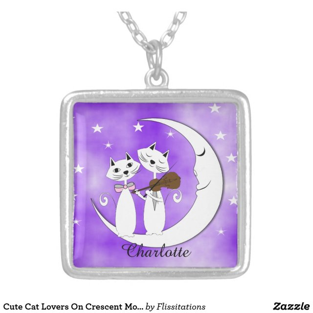 Cute Cat Lovers On Crescent Moon Personalized Silver Plated Necklace