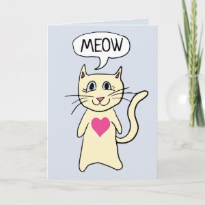Cute Cat Meow I Love You Card