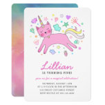 ❤️ Sweet Pink Unicorn Cat Birthday Party Invitation