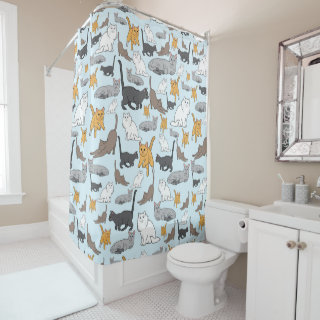 Cute Cats Pattern Illustration on Blue Background Shower Curtain