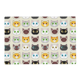 Cute Cats Pattern Laminated Placemat
