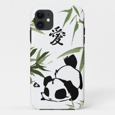 "Cute Chinese ""Love"" Panda with Bamboos iPhone 11 Case"
