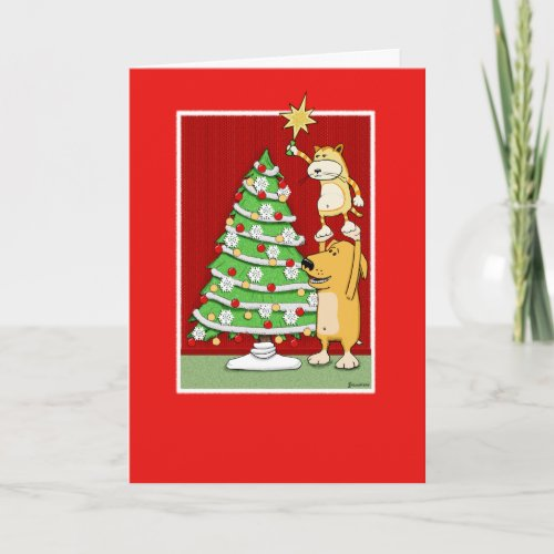 Cute Christmas card: Cat and Dog card