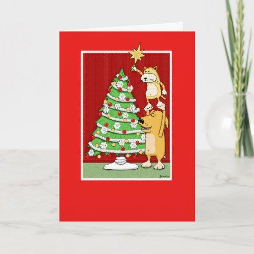 Cute Christmas card: Cat and Dog card