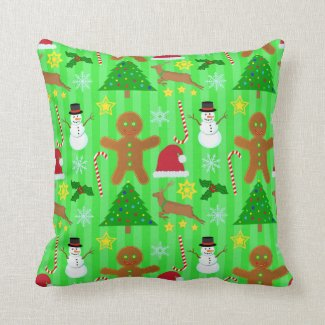 Cute Christmas Collage Holiday Pattern Throw Pillow