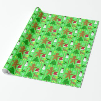 Cute Christmas Collage Holiday Pattern Gift Wrap Paper