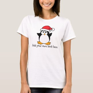 Cute Christmas Penguin Custom and Personalize T-Shirt