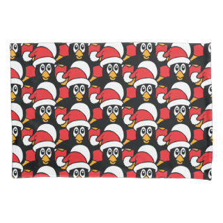 Cute Christmas Penguins Pattern Red Pillow Case