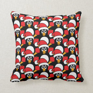 Cute Christmas Penguins Pattern Red Throw Pillow