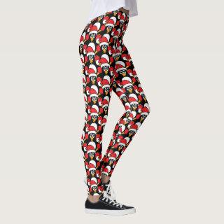 Cute Christmas Penguins Red Leggings