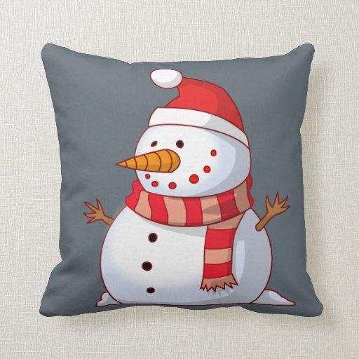 Cute Christmas Snowman Throw Pillow  Zazzle
