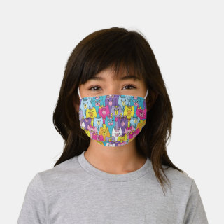 Cute Colorful Cartoon Cats Kids' Cloth Face Mask