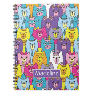 Cute Colorful Cartoon Cats Pattern Add Name Notebook