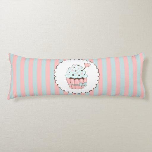 Cute Cupcake Pink & Mint Blue Design Body Pillow