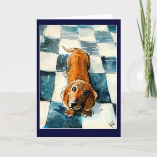 Cute Dachshund dog greeting or note card