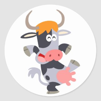 Cute Dancing Cartoon Cow Sticker