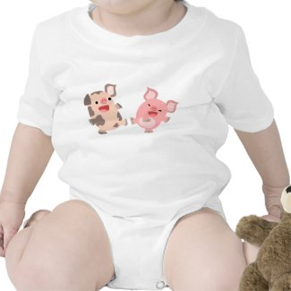 Cute Dancing Cartoon Pigs Baby Apparel shirt