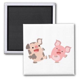 Cute Dancing Cartoon Pigs Magnet magnet