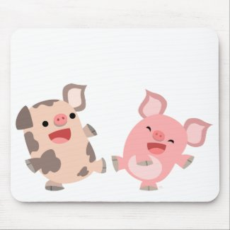 Cute Dancing Cartoon Pigs Mousepad mousepad