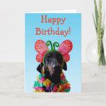 ❤️ Cute Doberman dog butterfly birthday Card