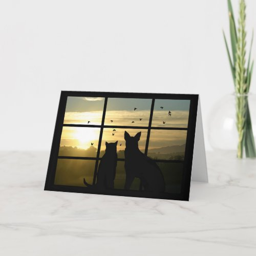 Cute Dog and Cat in Window Missing You Card