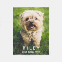 Cute Dog Personalized Pet Photo Custom Fleece Blanket