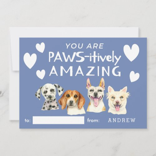 Cute Dogs Watercolor Kids Classroom Valentines Day Holiday Card