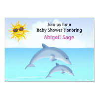 Cute Dolphin Ocean Baby Shower Invite for Girls