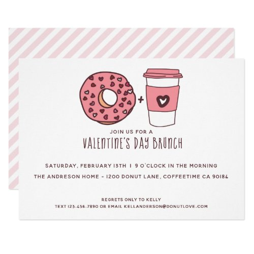 Cute Donut & Coffee Valentine's Day Brunch Invitation