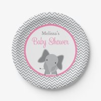Cute Elephant Chevron Pink Baby Shower Paper Plate ...
