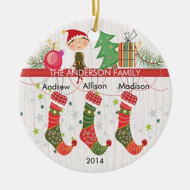 Cute Elf Stockings Family Of 3 Christmas Ornament Zazzle Com